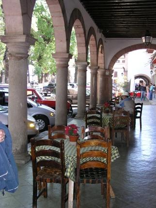 Sidewalk cafe in Potzcuaro, Mexico