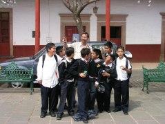 Don Andrews with school children.