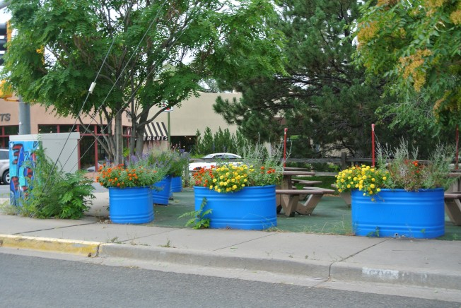 Colorful planters in Santa Fe