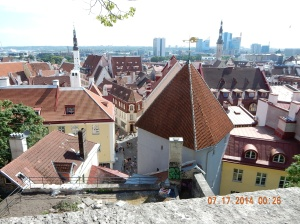 Looking out from Old Town to the new Tallinn
