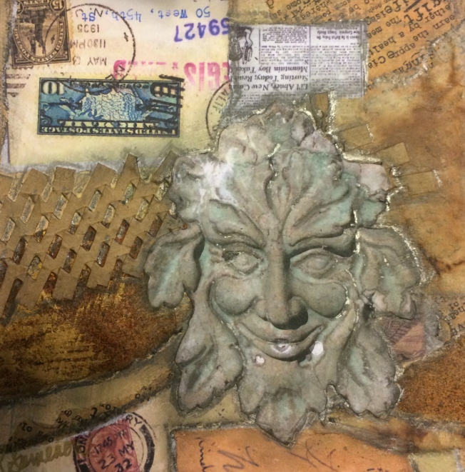 mixed media..Green Man  unfinished