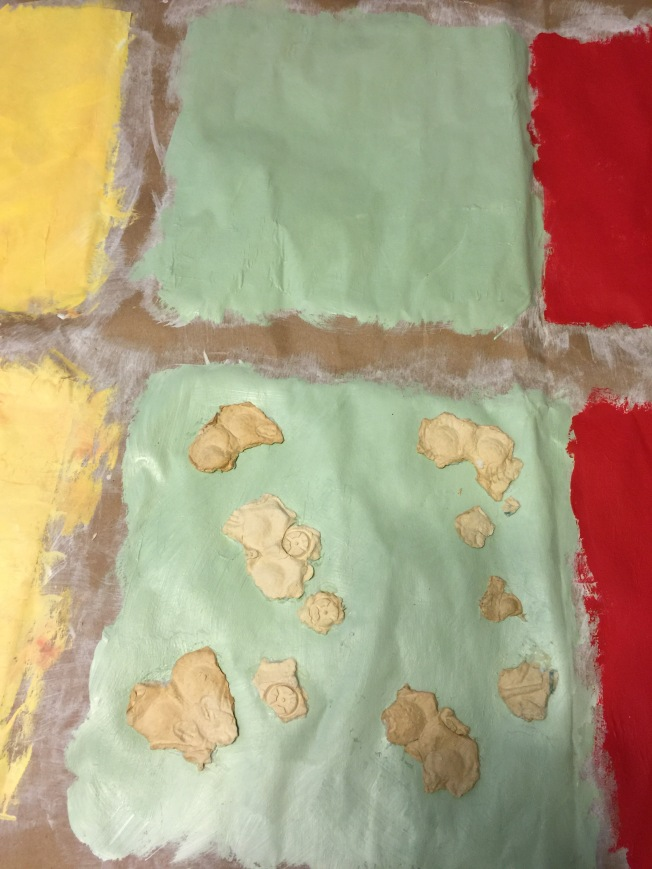 Soaked egg carton, flattened for texture.....we'll see!